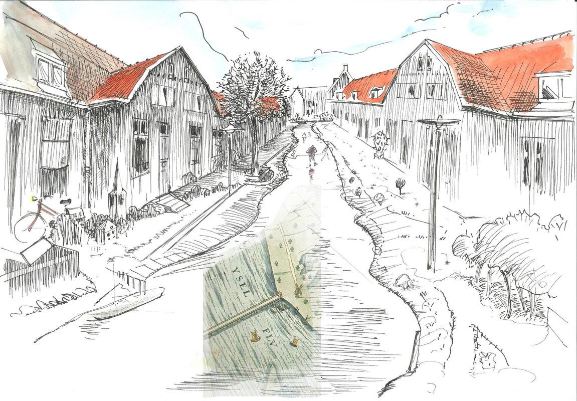 De Utrechtse IJsselstraat.  Met een flard van een kaart van Zutphen aan de IJssel, van Lodovico Guicciardini uitgegeven door Willem Jansz.Blaeu 1613. Illustratie: Jos Peeters