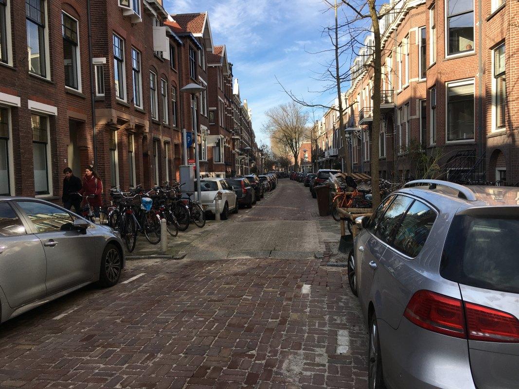 Op de voorgrond een van de verkeersdrempels in de Bellamystraat. Foto: Dik Binnendijk