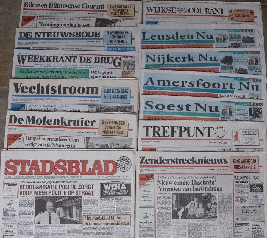 Utrechtse huis-aan-huisbladen in de jaren negentig vorige eeuw. Foto: Ton van den Berg