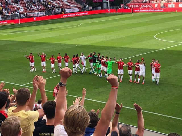 FC Utrecht viert de overwinning. Foto: Stefan Valentijn Dingemans