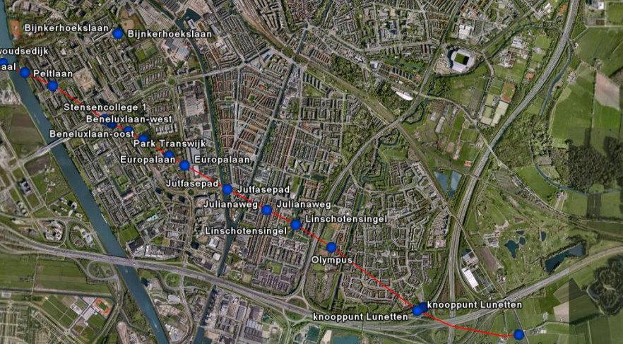 De loop van de Limes door Utrecht. Bron: Stadsarcheologie Gemeente Utrecht en RAAP Archeologisch Advies
