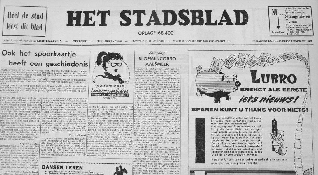 Het Stadsblad in 1959. Foto: Ton van den Berg - Het Utrechts Archief