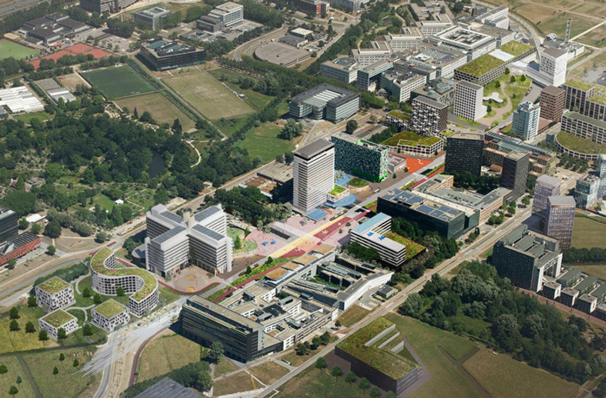 De toekomst van het Utrecht Science Park zoals in opdracht van de Universiteit Utrecht uitgewerkt door Barcode Architects.