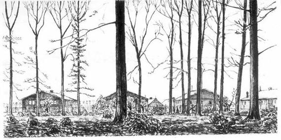 Kamp Rhijnauwen waar na de oorlog 'foute Nederlanders' gevangen werden gezet. Tekening K. Braak