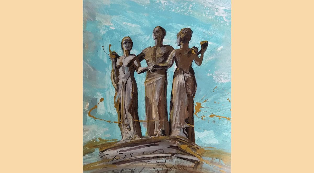 De Eendracht van het Land. Tekening met acrylverf, gemaakt door Sophia Anastasia (klik erop voor een vergroting)