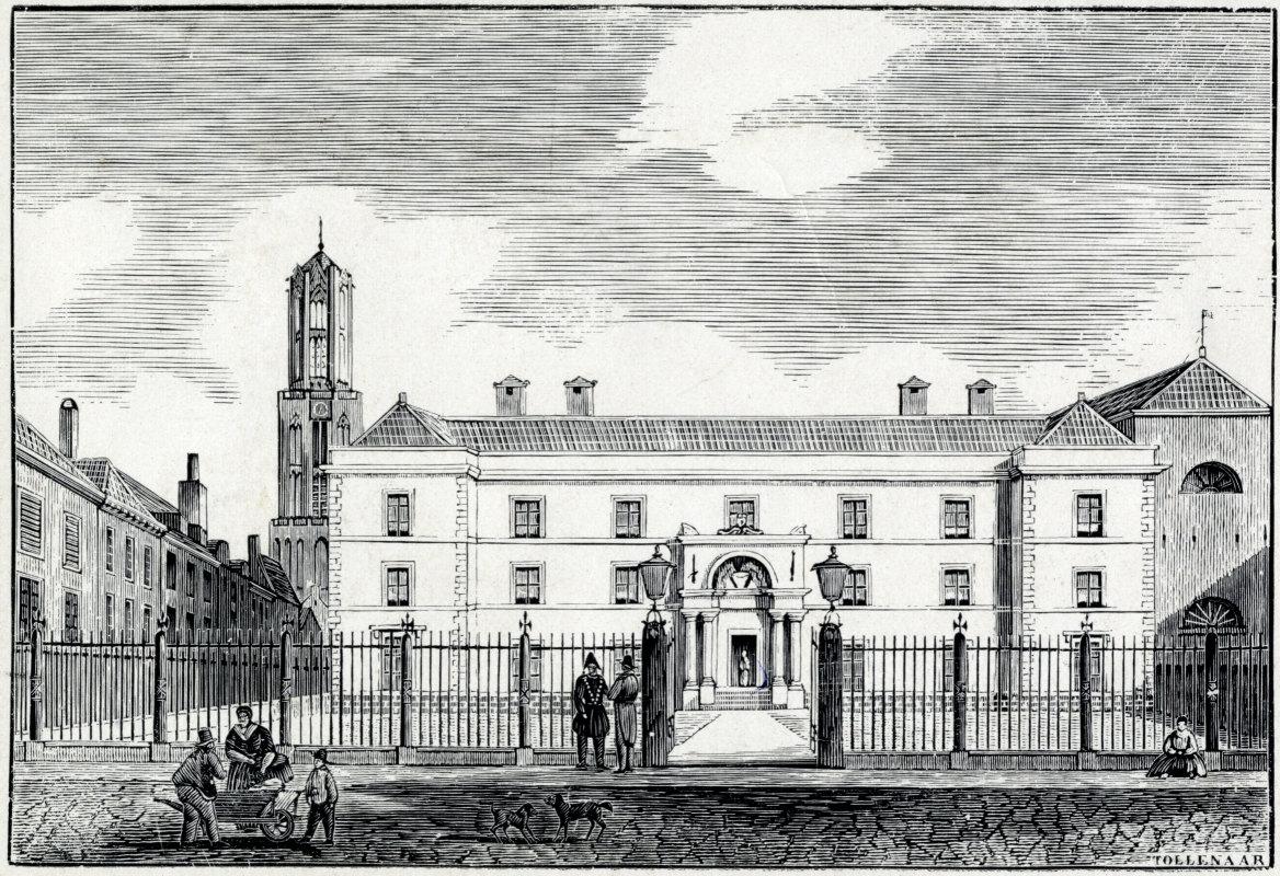 De toegangspoort en het hekwerk bij de rechtbank circa 1840. Illustratie: Tollenaar (HUA)