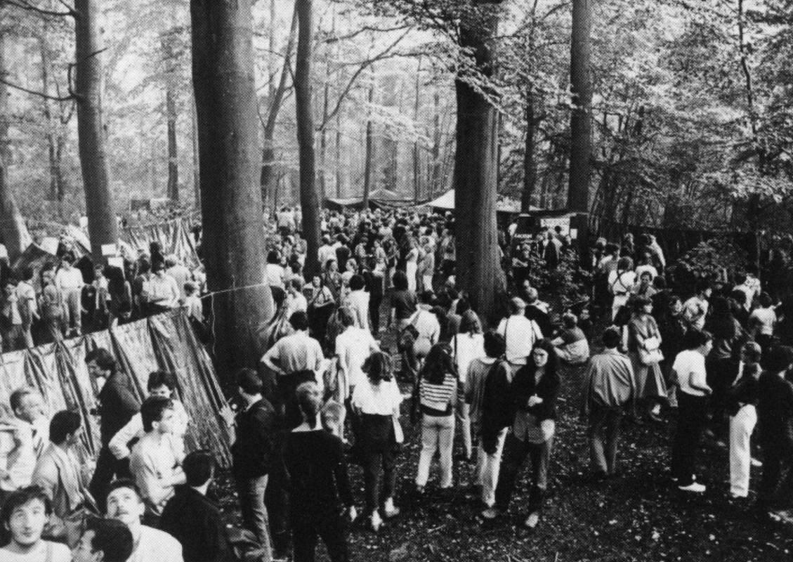 Actievoerders in 1982 in Amelisweerd protesteren tegen de aanleg van de A27. Fotogroep Landelijk Amelisweerd Komitee/HUA