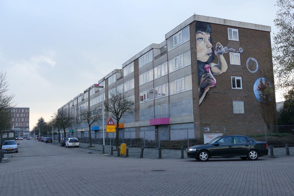 Een van de flats op Kanaleneiland. Foto: Ton van den Berg