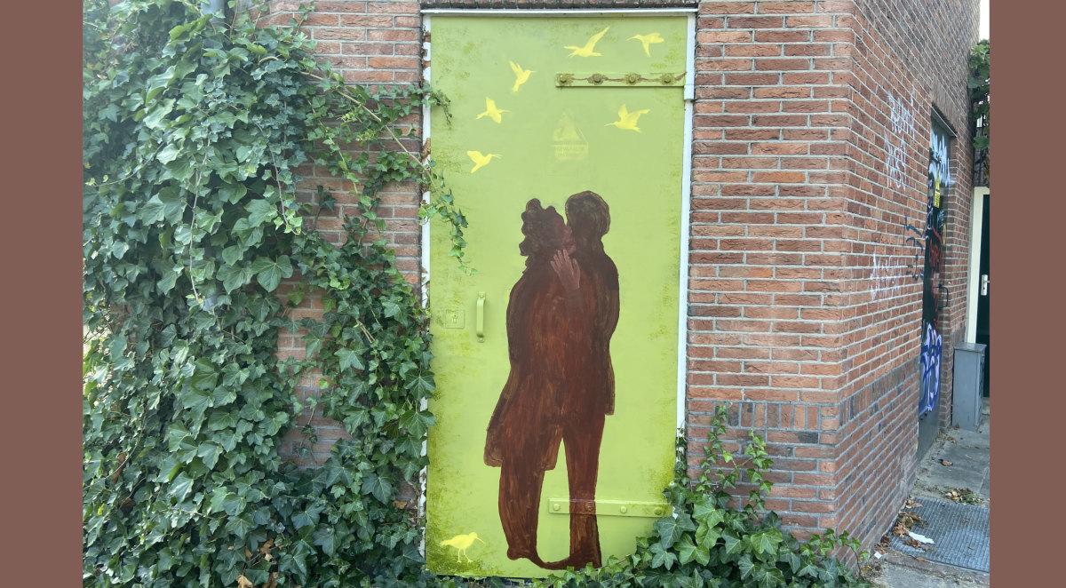 Banksy in Utrecht? Foto gemaakt op de Wulpstraat (Jim Terlingen)