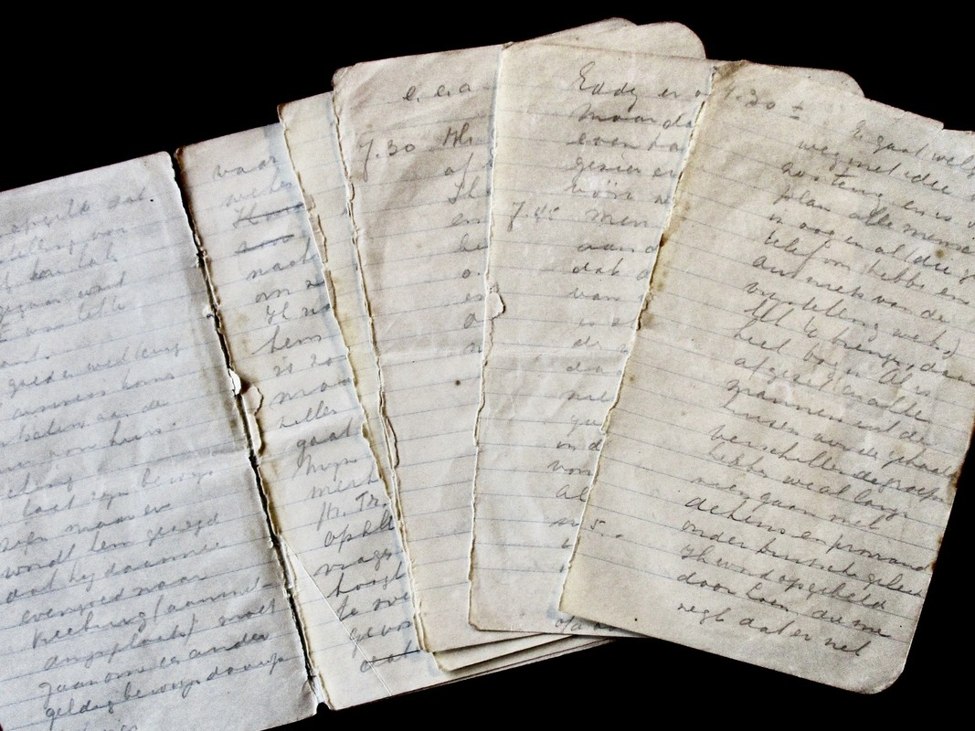 Het notitieboekje van Nel Schulte-De Roos met aantekeningen over de razzia. Foto: Ed. Schulte