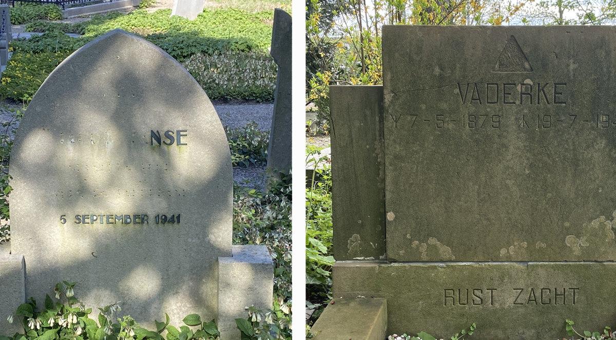 Grafstenen van Jacob Janse (links) en Johan Otto (rechts) op begraafplaats Soestbergen. Foto's: Jim Terlingen