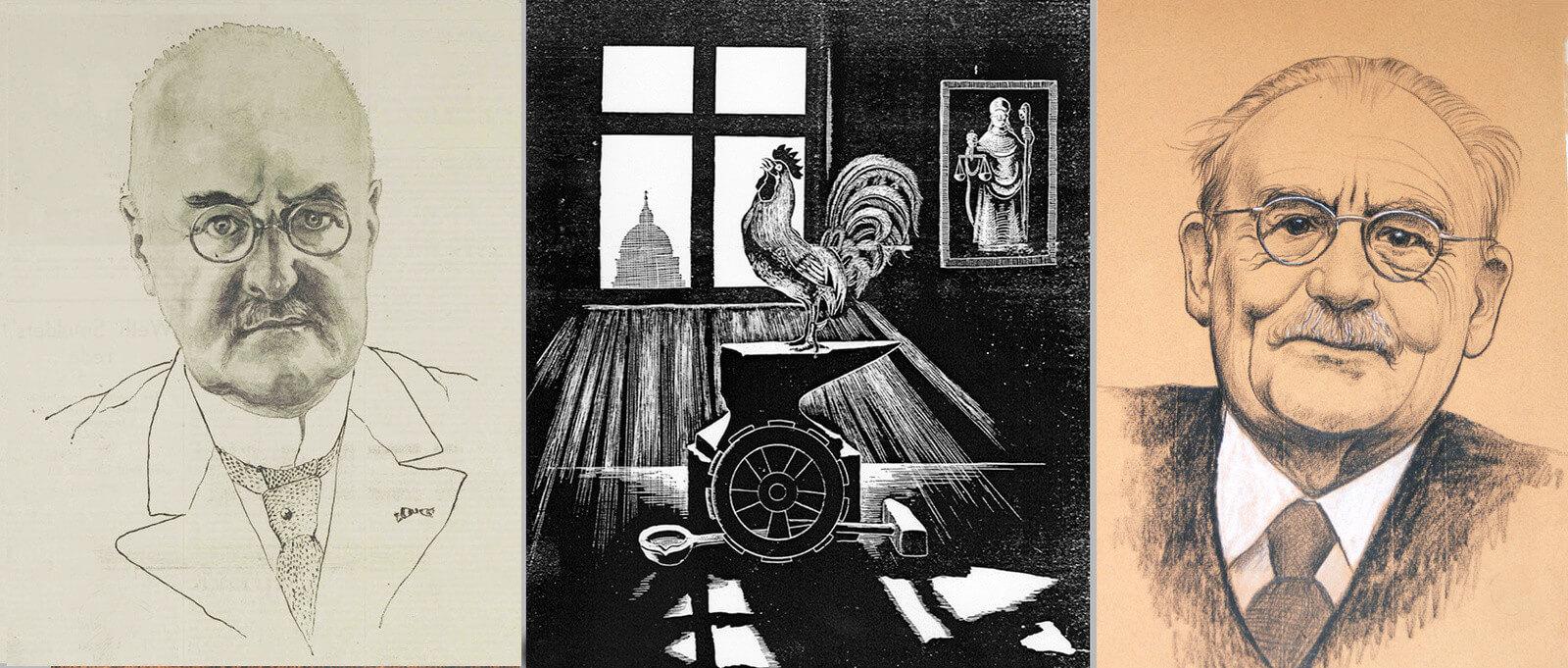 Burgemeester Fockema Andrea (1933), illustratie voor Sint Eloy (1938) en Willem Drees (onbekend). Tekeningen: Jul. Terlingen