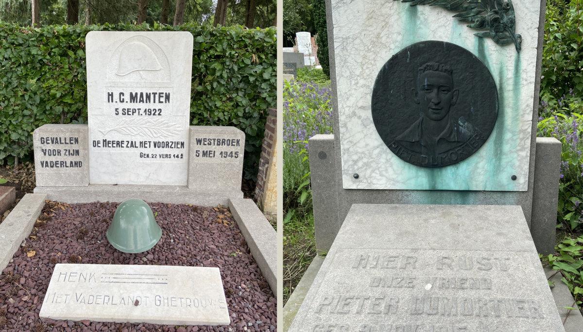 De graven van Henk Manten en Piet Dumortier op begraafplaats Tolsteeg. Foto's: Jim Terlingen