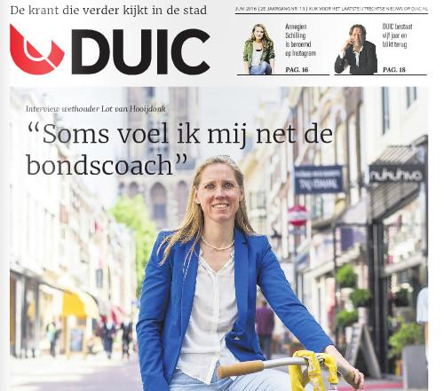 Cover van de DUIC-krant met interview Lot van Hooijdonk.