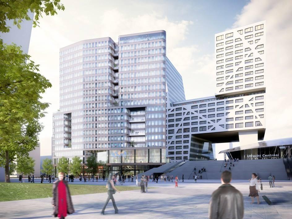 Het nieuwe World Trade Center dat pal voor het Stadskantoor gebouwd gaat worden. Illustratie: CBRE