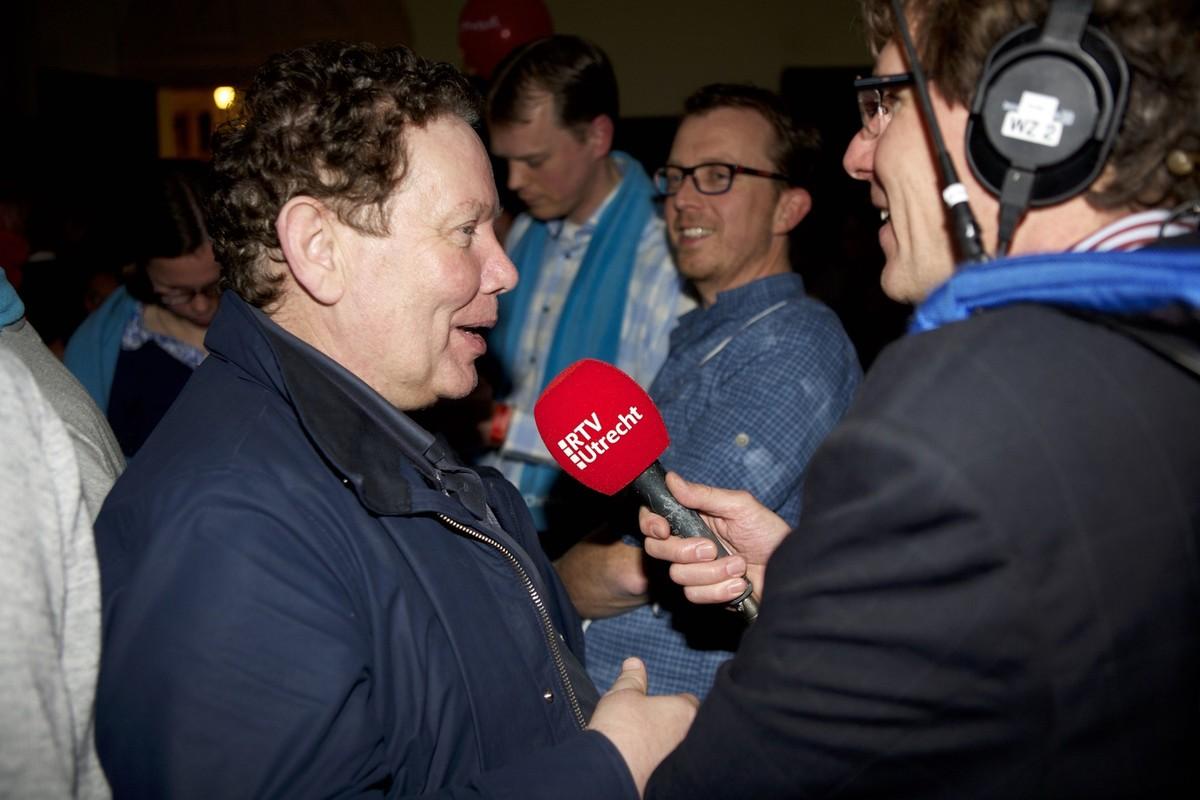 Wim Oostveen tijdens de verkiezingsavond in 2014 in het Utrechtse stadhuis. Foto: Ton van den Berg
