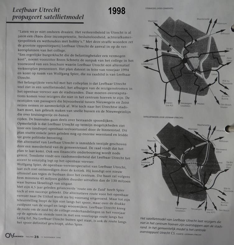 Het Ov-plan van Leefbaar Utrecht dat in 1998 werd afgeschoten omdat het 'te laat' kwam.