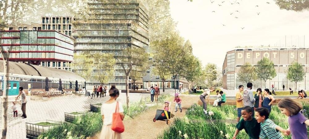 Impressie van de bouw in de nieuwe wijk 'Merwede'. Illustratie: Marco Broekman en OKRA