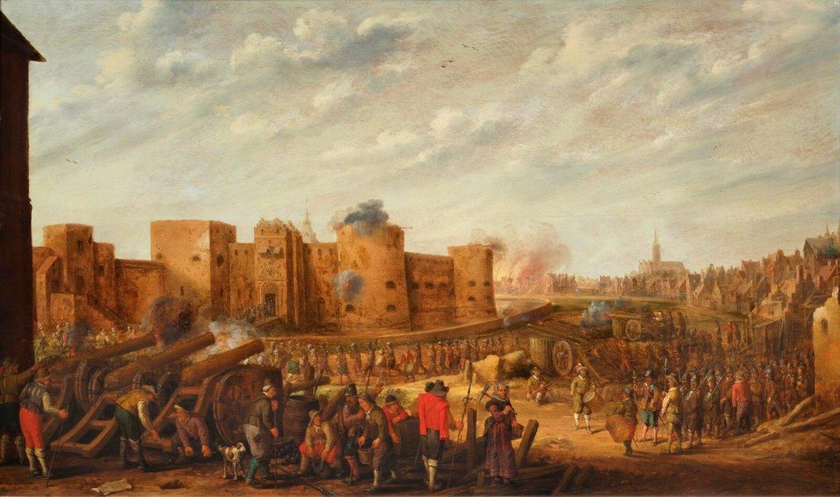 Het beleg van het kasteel Vredenburg te Utrecht in 1577, geschilderd door J.C. Droochsloot (1646). Foto: Centraal Museum