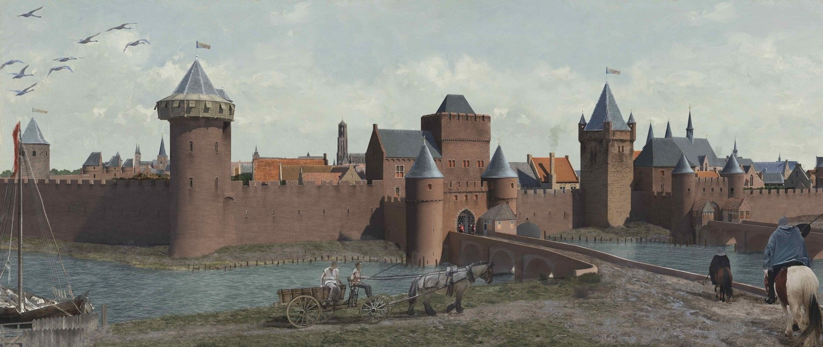 Reconstructie Tolsteegpoorten omstreeks 1500. (c) Daan Claessen, Erfgoed Utrecht