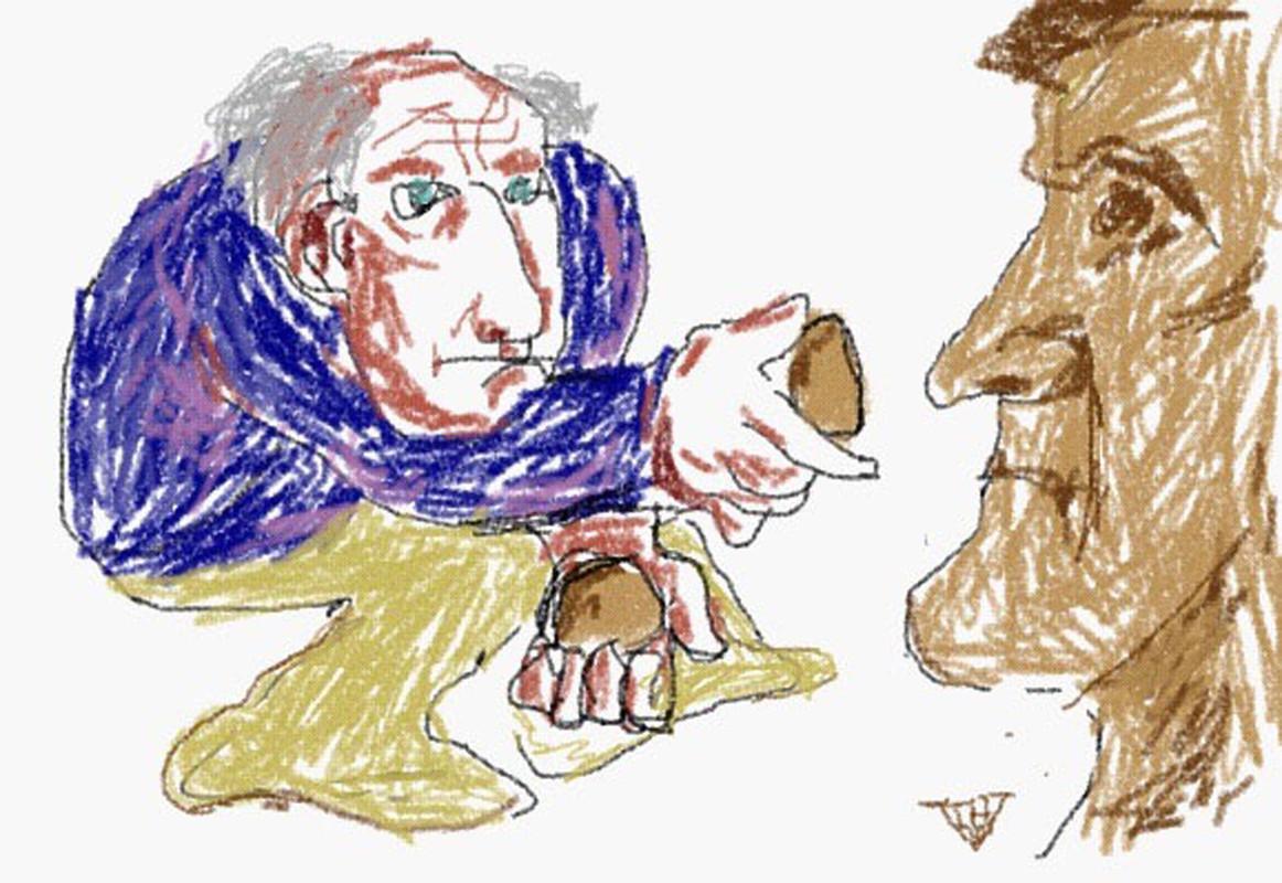 Anton Geesink boetseren. Illustratie Theo van de Vathorst