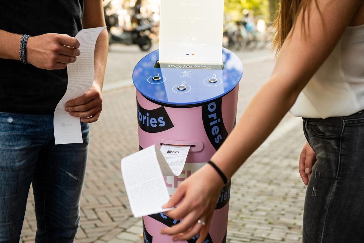 De verhalenautomaat op het ILFU, literatuurfestival. Foto: Anna Kooij