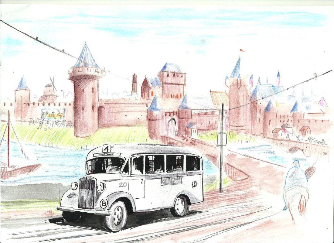De Tolsteegbus, met de op de achtergrond een middeleeuws beeld van de Tolsteegpoort. Illustratie: Jos Peeters
