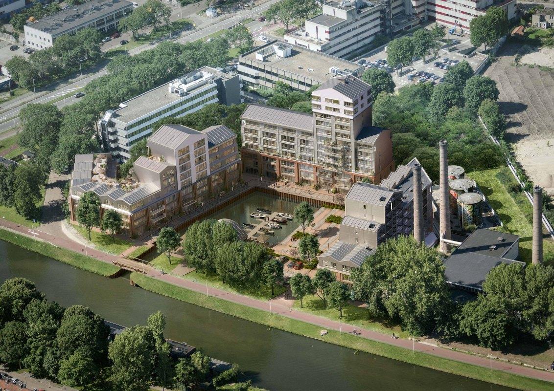 Impressie van de Wilhelminawerf langs het Merwedekanaal. Illustratie: KondorWessels