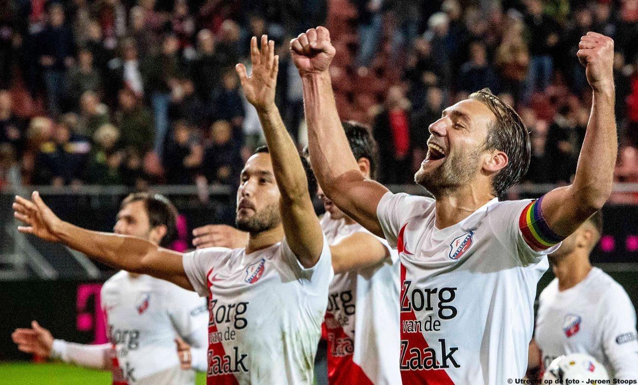 In 2019 juichende spelers bij overwinning op PSV. Foto: Jeroen Stoops
