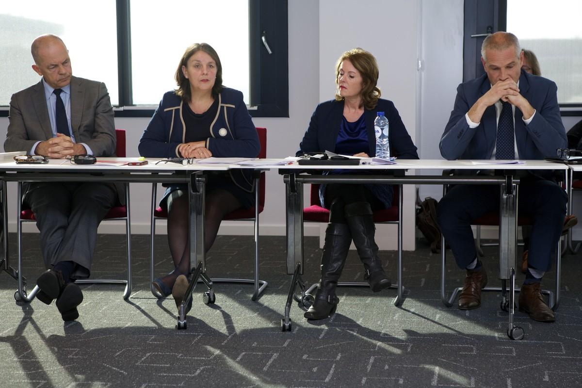 Directeur Frans Vreeke, wethouder Jongerius, woordvoerder Borgman en wethouder Everhardt tijdens de presentatie van tussenrapportage TivoliVredenburg. Foto: Ton van den Berg