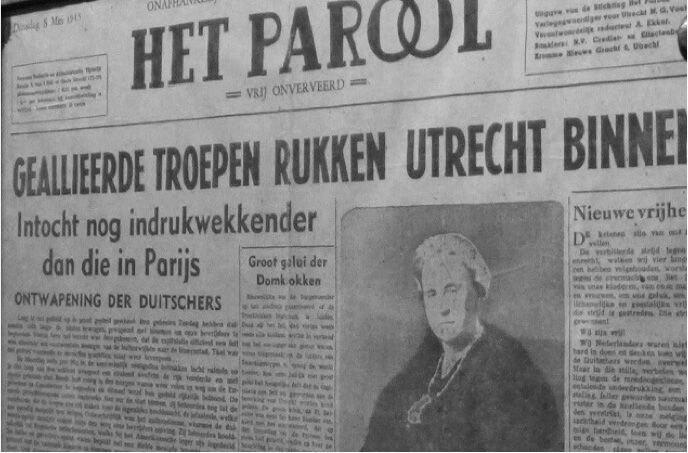 'We hebben ook weer een krant! Het Parool, nu legaal, zo gek en ongewoon.' Foto: Collectie J. van der Meer