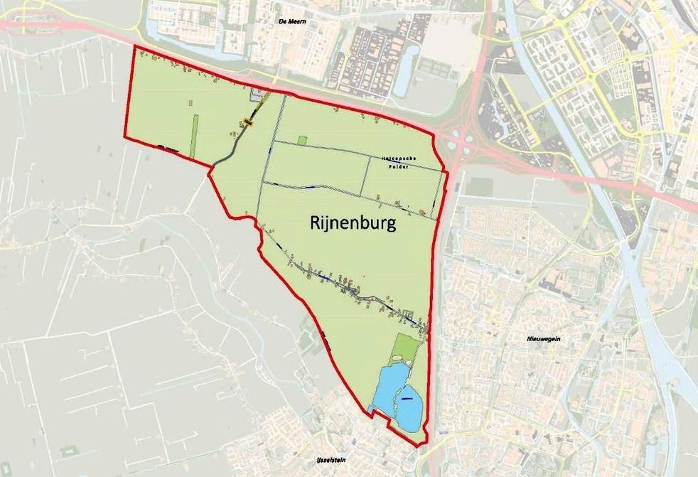 Rijnenburg, in het noordelijke gedeelte zijn windmolens en zonnepanelen gepland. foto: kwaliteitsatlas