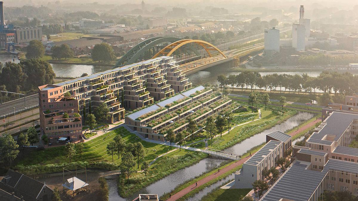 Nabij de Gele Brug komt een appartementencomplex in terrasbouw van 144 woningen. Foto: Bouwbedrijf Heijmans