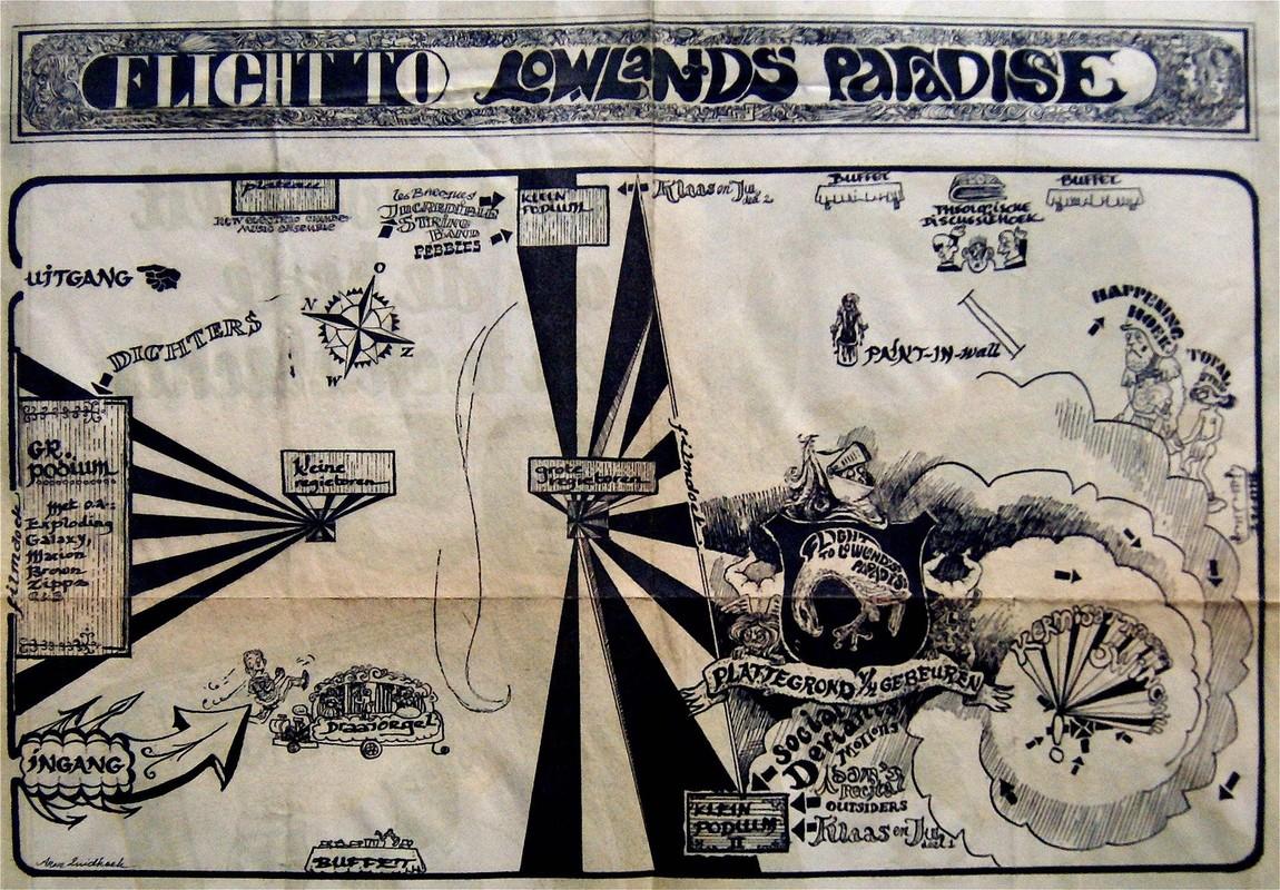Pagina in het Parool over de Flight in 1967. Illustraties van Arne Zuidhoek