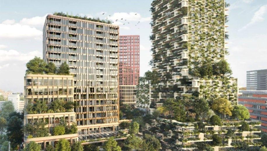 Impressie van de torens voor Healthy Urban Living in het Beurskwartier (illustratie Wonderwoods)